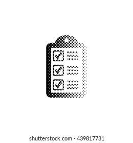 checklist - black vector icon;  halftone illustration