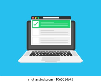 Checklist browser window. Check mark. White tick on laptop screen. Choice, survey concepts. Elements for web banners, websites, infographics. Flat design, vector illustration on background
