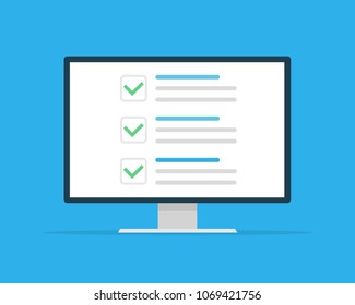 Checklist browser window. Check mark. White tick on monitor screen. Choice, survey concepts. Elements for web banners, websites, infographics. Flat design, vector illustration on background