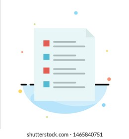 Checklist, Check, File, List, Page, Task, Testing Abstract Flat Color Icon Template. Vector Icon Template background