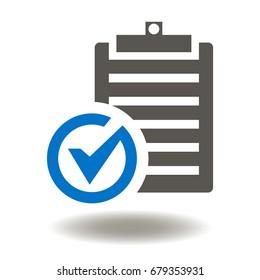 Checklist Check Mark Vector Icon. Clipboard Checkmark Illustration. Compliance Sign.