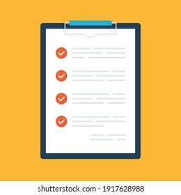 Checklist. Clipboard and check marks. Flat design. Vector illustration
