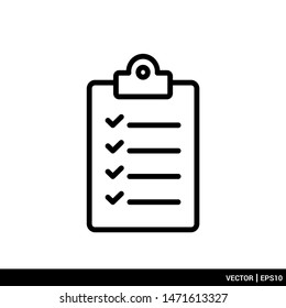 Checklist clipboard icon vector illustration logo template. EPS 10