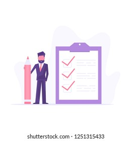 Checklist concept vector illustration. Business man with a big pencil and checklist on a clipboard paper.