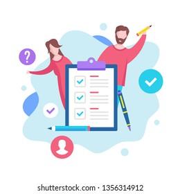 Checklist concept. Vector illustration. Survey, filling form, check list clipboard. Modern flat design graphic elements for websites, web pages, templates, infographics, web banners, etc.