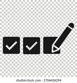 Checklist document icon in flat style. Survey vector illustration on white isolated background. Check mark choice business concept.