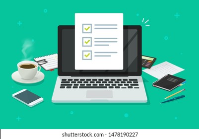 Checklist document on laptop and working desk vector. Cartoon computer with checkmarks document or to do list with checkboxes, concept of survey. Online quiz or done test, feedback or workplace table.