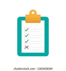 Checklist form on clipboard illustration in flat style