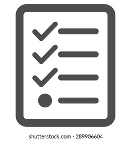 Checklist icon from Business Set. Vector style: flat symbol, gray color, rounded angles, white background. Design for software and web toolbars.