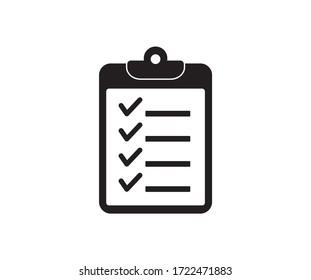 Checklist icon. Clipboard icon on white background. Vector illustration.