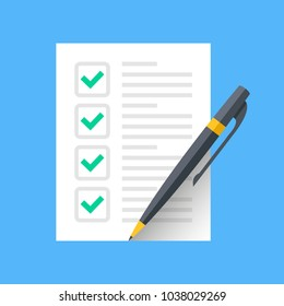 Checklist icon. Document with green ticks checkmarks. Checklist and pen. Application form, complete tasks, to-do list, survey concepts. Vector icon