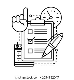 checklist icon with pen, clock, calendar and hand with a raised finger up.