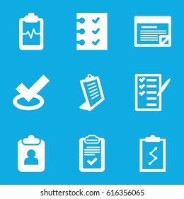 Checklist icons set. set of 9 checklist filled icons such as clipboard, heartbeat clipboard, check list, checklist, plan, tick