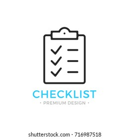 Checklist line icon. Clipboard with checkmarks. List with ticks, check marks. Task is done, work is finished concept. Black vector checklist icon isolated on white background