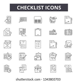 Checklist line icons for web and mobile design. Editable stroke signs. Checklist  outline concept illustrations - Shutterstock ID 1343803703