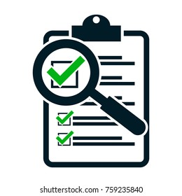 checklist magnifying assessment. Flat design icon