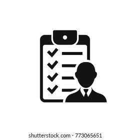 Checklist with man silhouette icon, candidate approved symbol. Positive mark symbol. Vector isolated illustration.