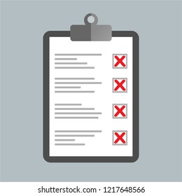 Checklist on clipboard. Not approved. Not accepted.