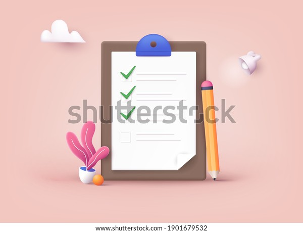 Checklist on a clipboard paper. Successful completion of business tasks. 3D Web Vector Illustrations.