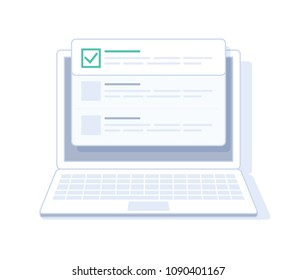 Checklist on laptop display, checkboxes with check mark. List of purchases, tasks, to do, CRM, wish list on the website concept. Flat outline vector design, premium quality trendy icon.