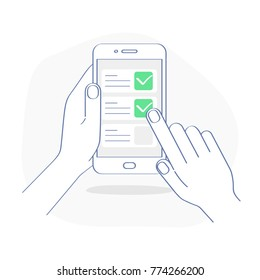 Checklist on smartphone display, checkboxes with check mark. List of purchases, tasks, to do, wish list on the website concept. Flat outline mobile vector design, premium quality trendy icon.
