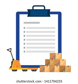 checklist over pushcart vector illustration