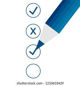 Checklist and pencil flat icon. Vector graphic illustration.