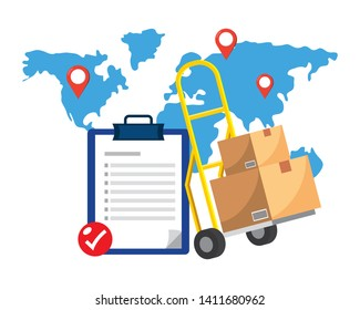 checklist and pushcart vector illustration