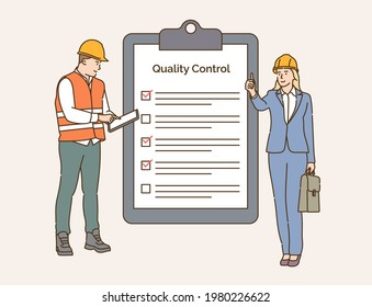 Checklist, quality control, construction industry concept. Team of engineers control and check work together