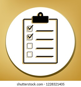 Checklist sign illustration. Vector. Black icon with light brown shadow in white circle with shaped ring at golden background.