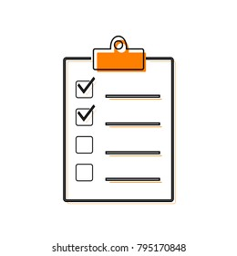 Checklist sign illustration. Vector. Black line icon with shifted flat orange filled icon on white background. Isolated.