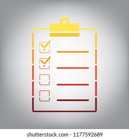 Checklist sign illustration. Vector. Horizontally sliced icon with colors from sunny gradient in gray background.