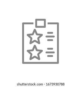 Checklist with stars line icon. Tablet with rating, add to favorites, questionnaire symbol
