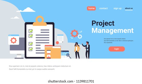 checklist survey project management business man and woman working together hold paper success concept flat vector illustration