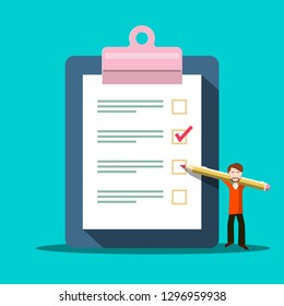 Checklist Symbol. Vector Survey Icon with Man. Questionnaire Document Concept.