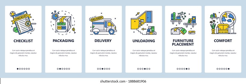 Checklist, tasks organizer, daily planner. Packaging, delivery, furniture placement. Mobile app screens. Vector banner template for website and mobile development. Web site design illustration.