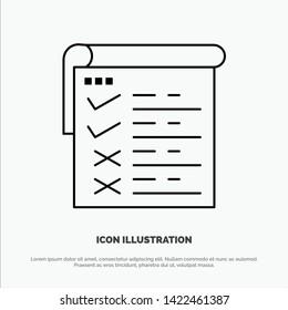 Checklist, Testing, Report, Qa Vector Line Icon