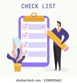 Checklist with a tick mark. A man holds a pencil and stay near giant clipboard. Successful business concept. Vector illustration