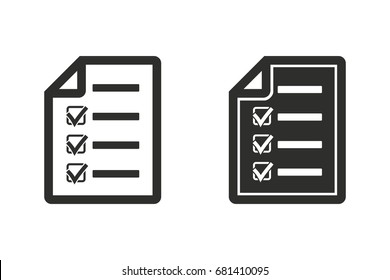 Checklist vector icon. Black illustration isolated on white background for graphic and web design.