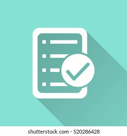 Checklist vector icon with long shadow. White illustration isolated on green background for graphic and web design.