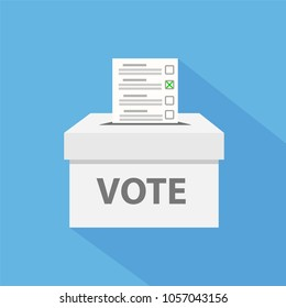 checklist in vote box on blue with long shadow, stock vector illustration