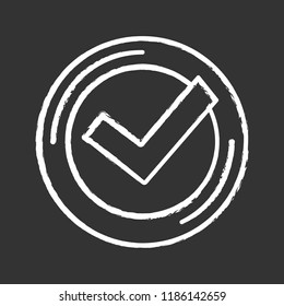 Checkmark chalk icon. Successfully tested. Tick mark. Quality assurance. Verification and validation. Quality badge. Isolated vector chalkboard illustration