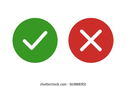 Checkmark / check, x or approve & deny flat color icon for apps and websites.
