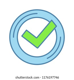 Checkmark color icon. Successfully tested. Tick mark. Quality assurance. Verification and validation. Quality badge. Isolated vector illustration