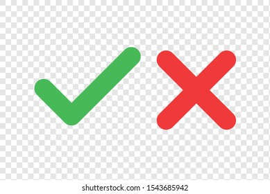 Checkmark cross on transparent background. Isolated vector sign symbol. Checkmark icon set. Checkmark right symbol tick sign. Flat vector icon. Test question. EPS 10
