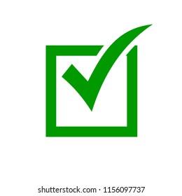 Checkmark icon. Green check mark icon. Check list button. Tick icon