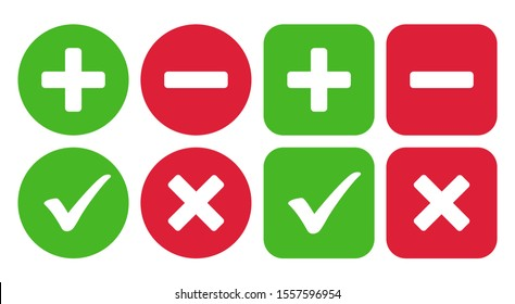Checkmark icon and plus and minus icon. Vector illustration
