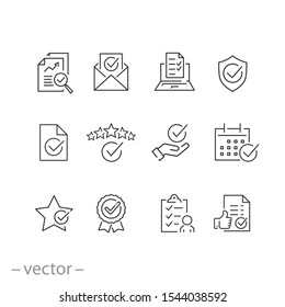 checkmark icons set, confirm terms outline, quality, approve concept, thin line symbols on white background - editable stroke vector illustration eps 10