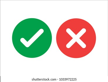Checkmark icons set. Tick and cross sign. Green check mark and red X cross icon isolated on white background. Simple marks graphic flat design. Circle shape YES and NO button. Vector illustration.