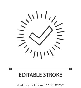 Checkmark linear icon. Successfully tested. Tick mark. Thin line illustration. Quality assurance. Approved. Verification and validation. Quality badge. Vector isolated outline drawing. Editable stroke